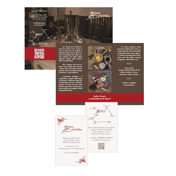Pieghevole a tre ante e biglietto da visita per La Casera di Col Falcon