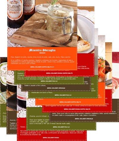 Le schede del progetto Una ricetta al mese con Birra Dolomiti, pubblicato su Facebook